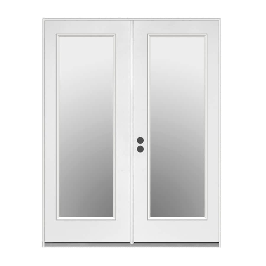 ReliaBilt 59.5-in 1-Lite Glass Primer White Steel French Inswing Patio Door