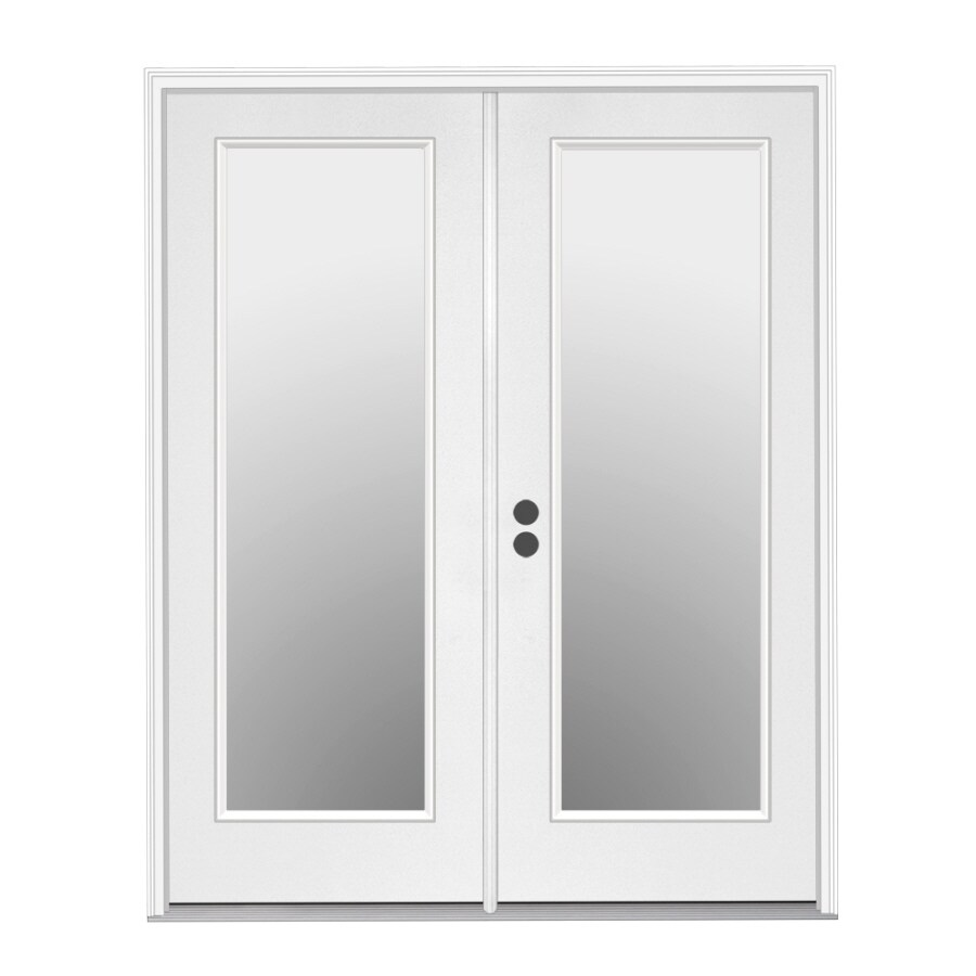 ReliaBilt 71.5-in 1-Lite Glass Primer White Steel French Inswing Patio Door