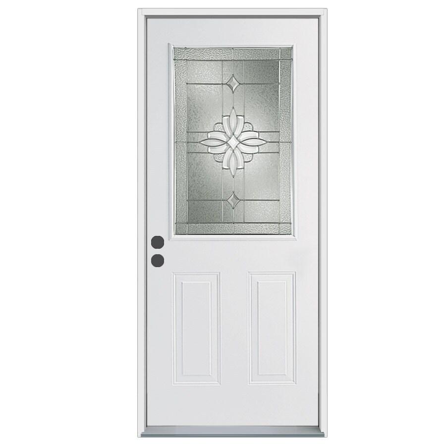 ReliaBilt Laurel 2-Panel Insulating Core Half Lite Right-Hand Inswing Steel Primed Prehung Entry Door (Common: 32-in x 80-in; Actual: 33.5-in x 81.75-in)