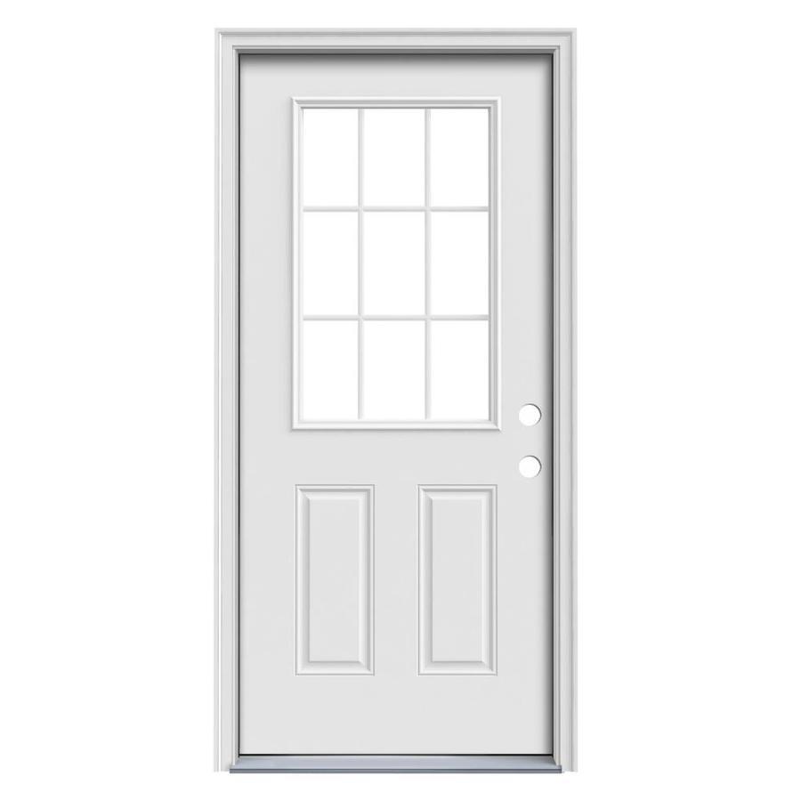 ReliaBilt 2-Panel Insulating Core 9-Lite Left-Hand Inswing Primed Steel Prehung Entry Door (Common: 32-in x 80-in; Actual: 33.5-in x 81.75-in)