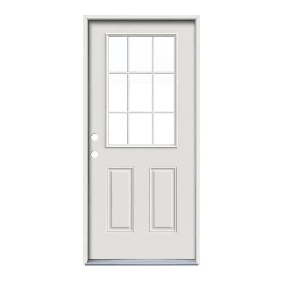 ReliaBilt 2-Panel Insulating Core 9-Lite Right-Hand Inswing Primed Steel Prehung Entry Door (Common: 36-in x 80-in; Actual: 37.5-in x 81.75-in)