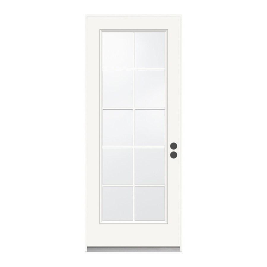 JELD-WEN 1-Panel Insulating Core 10-Lite Left-Hand Inswing Steel Primed Prehung Entry Door (Common: 32-in x 80-in; Actual: 33.5-in x 81.75-in)