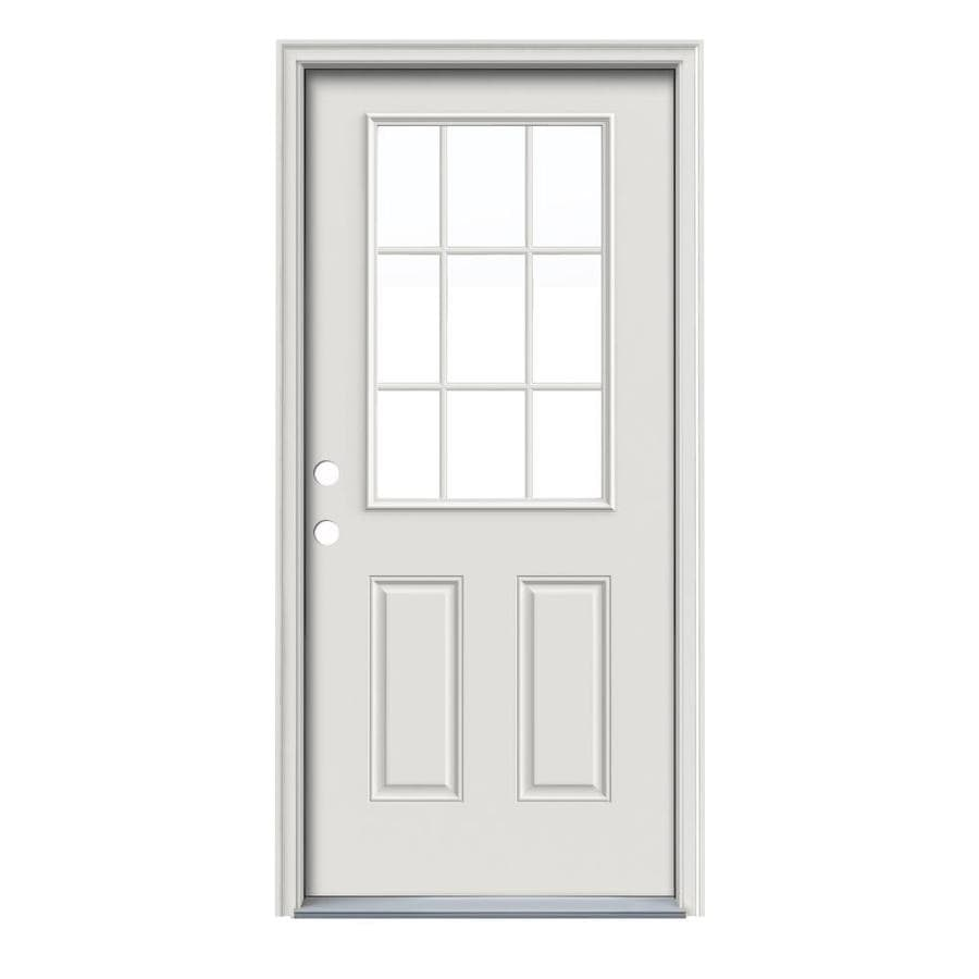 Shop reliabilt 2 panel insulating core 9 lite right hand for Metal entry doors
