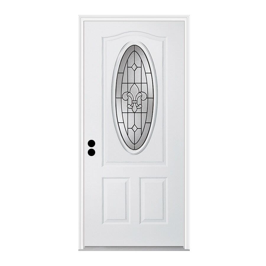 ReliaBilt Nola 1-Panel Insulating Core 3/4 Lite Right-Hand Inswing Primed Steel Prehung Entry Door (Common: 32-in x 80-in; Actual: 33.5-in x 81.75-in)
