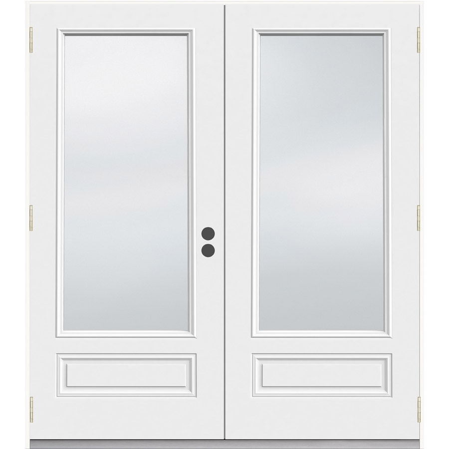 JELD-WEN 71.5-in 1-Lite Glass Primer White Composite French Outswing Patio Door