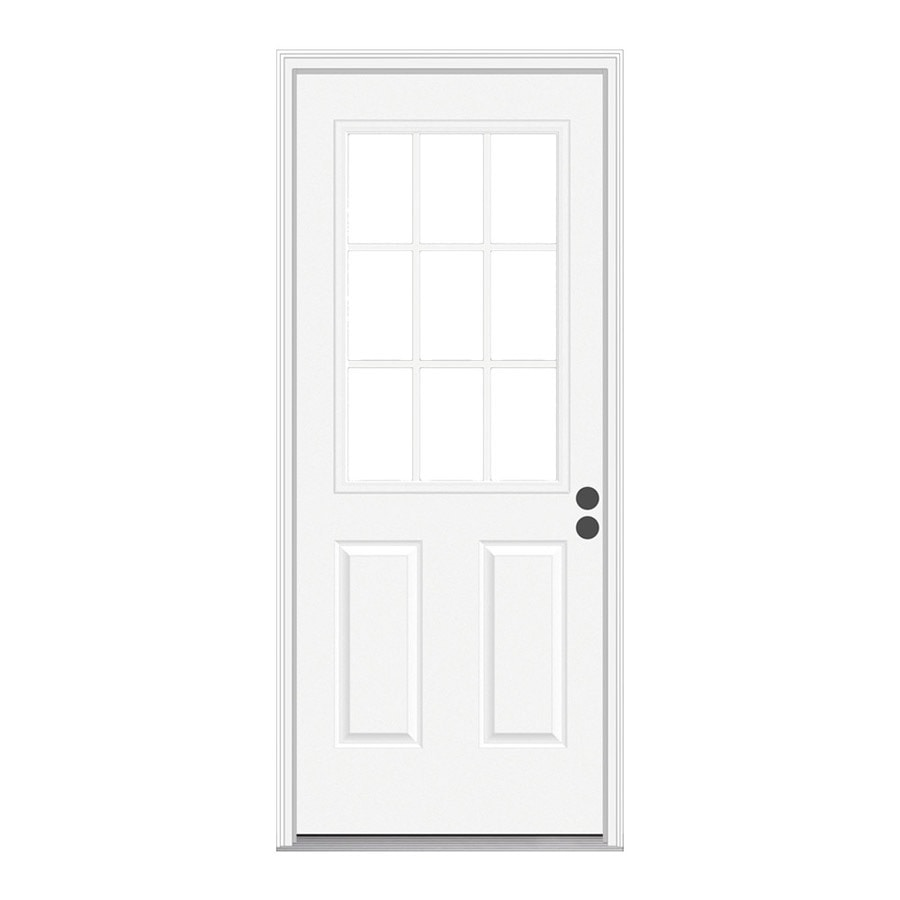 JELD-WEN 2-Panel Insulating Core 9-Lite Left-Hand Inswing Steel Primed Prehung Entry Door (Common: 30-in x 78-in; Actual: 31.5-in x 79.75-in)