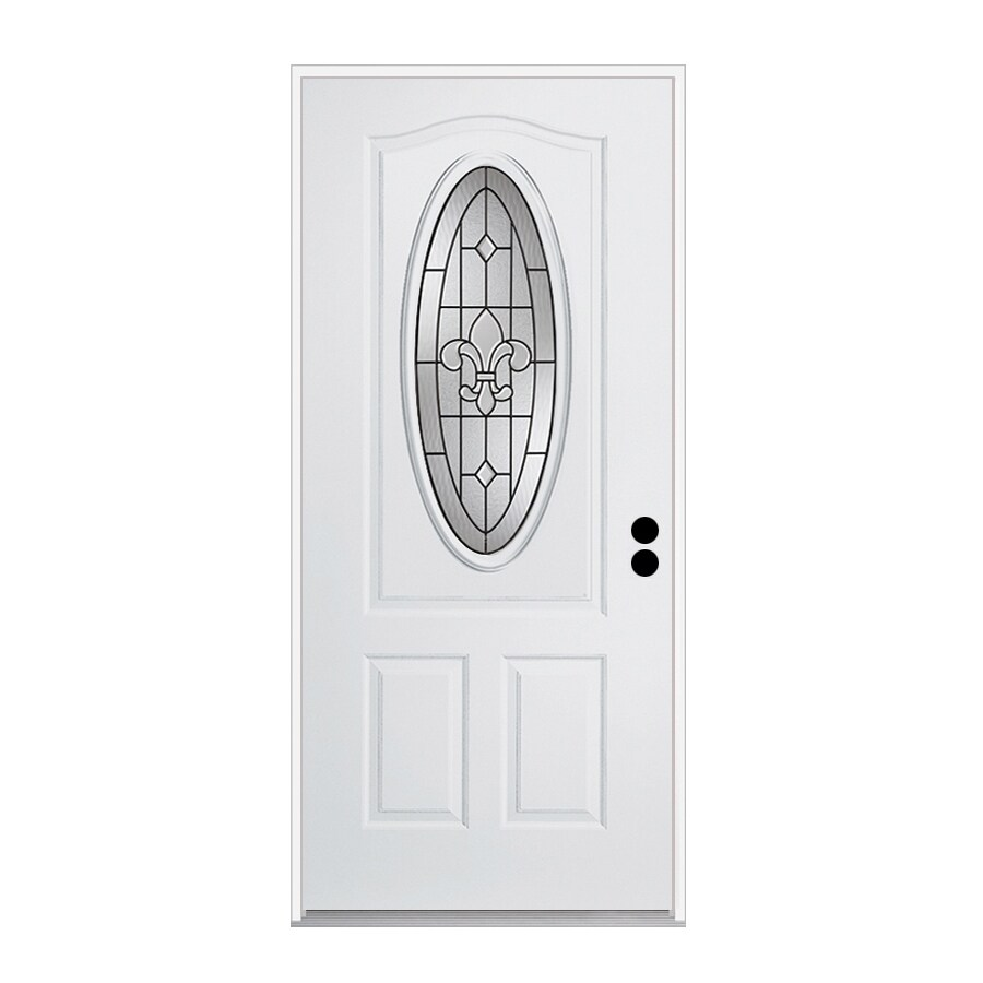 ReliaBilt Nola 1-Panel Insulating Core 3/4 Lite Left-Hand Inswing Primed Steel Prehung Entry Door (Common: 36-in x 80-in; Actual: 37.5-in x 81.75-in)