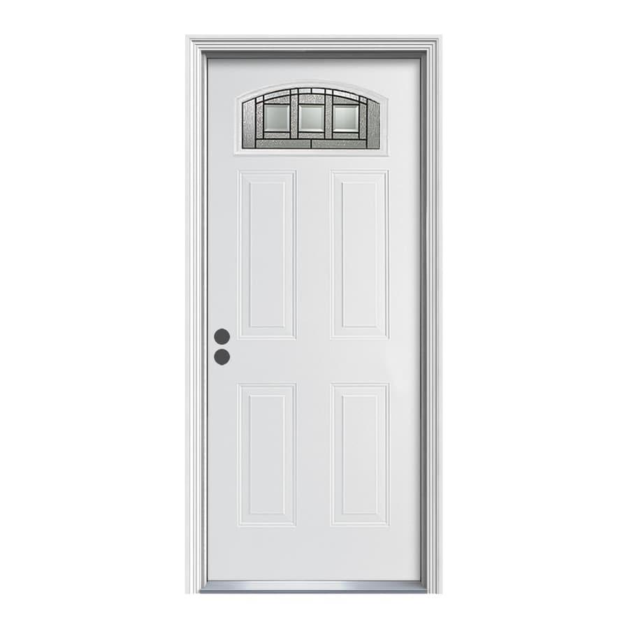 ReliaBilt Craftsman Glass 4-Panel Insulating Core Morelight Left-Hand Inswing Primed Steel Prehung Entry Door (Common: 34-in x 80-in; Actual: 35.5-in x 81.75-in)