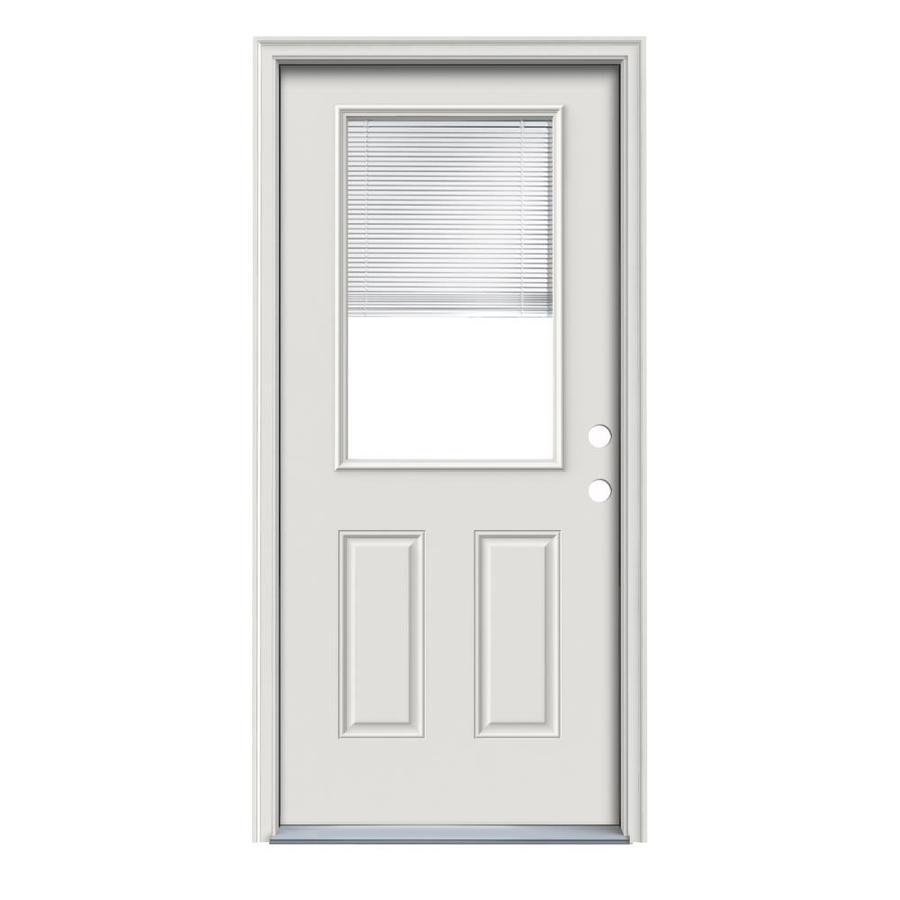 ReliaBilt 2-Panel Insulating Core Half Lite Left-Hand Inswing Primed Steel Prehung Entry Door (Common: 32-in x 80-in; Actual: 33.5-in x 81.75-in)