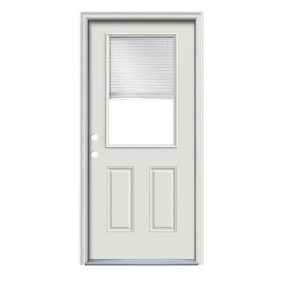 ReliaBilt 2-Panel Insulating Core Half Lite Right-Hand Inswing Primed Steel Prehung Entry Door (Common: 36-in x 80-in; Actual: 37.5-in x 81.75-in)
