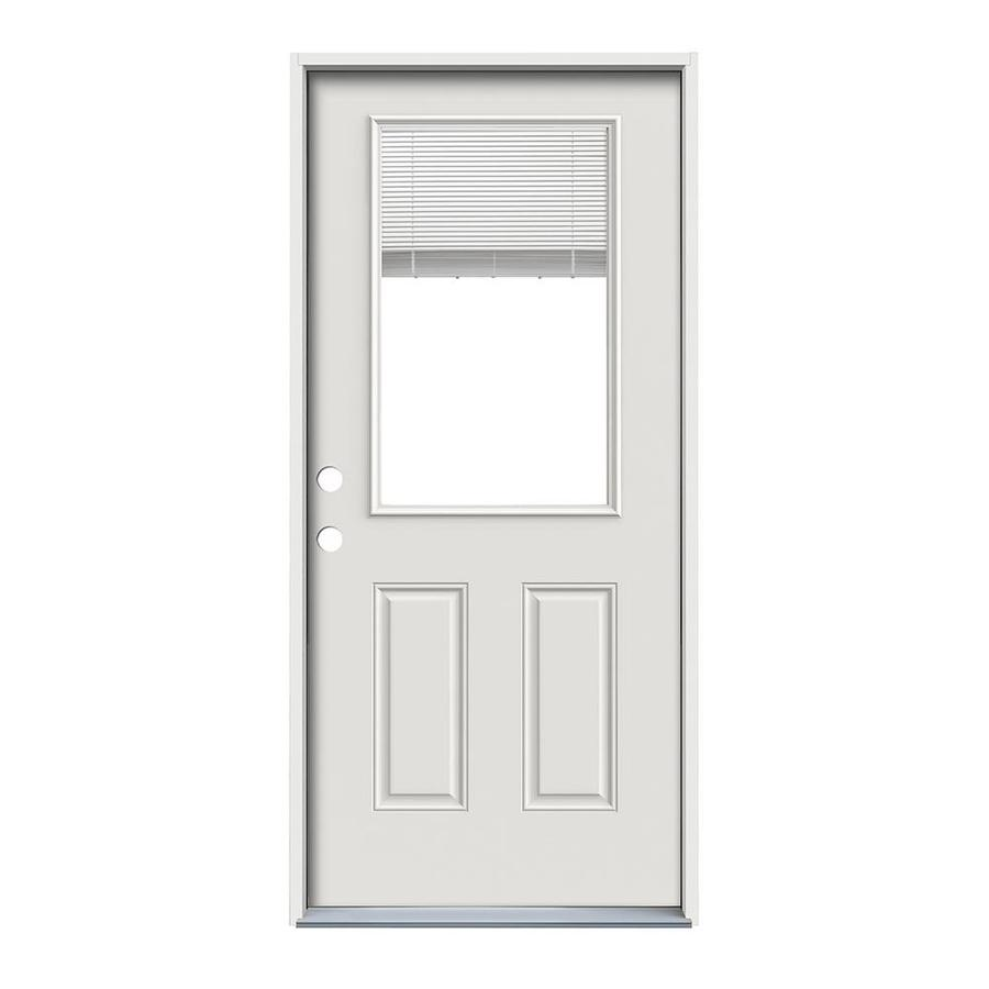 ReliaBilt 2-Panel Insulating Core Half Lite Right-Hand Inswing Primed Steel Prehung Entry Door (Common: 32-in x 80-in; Actual: 33.5-in x 81.75-in)