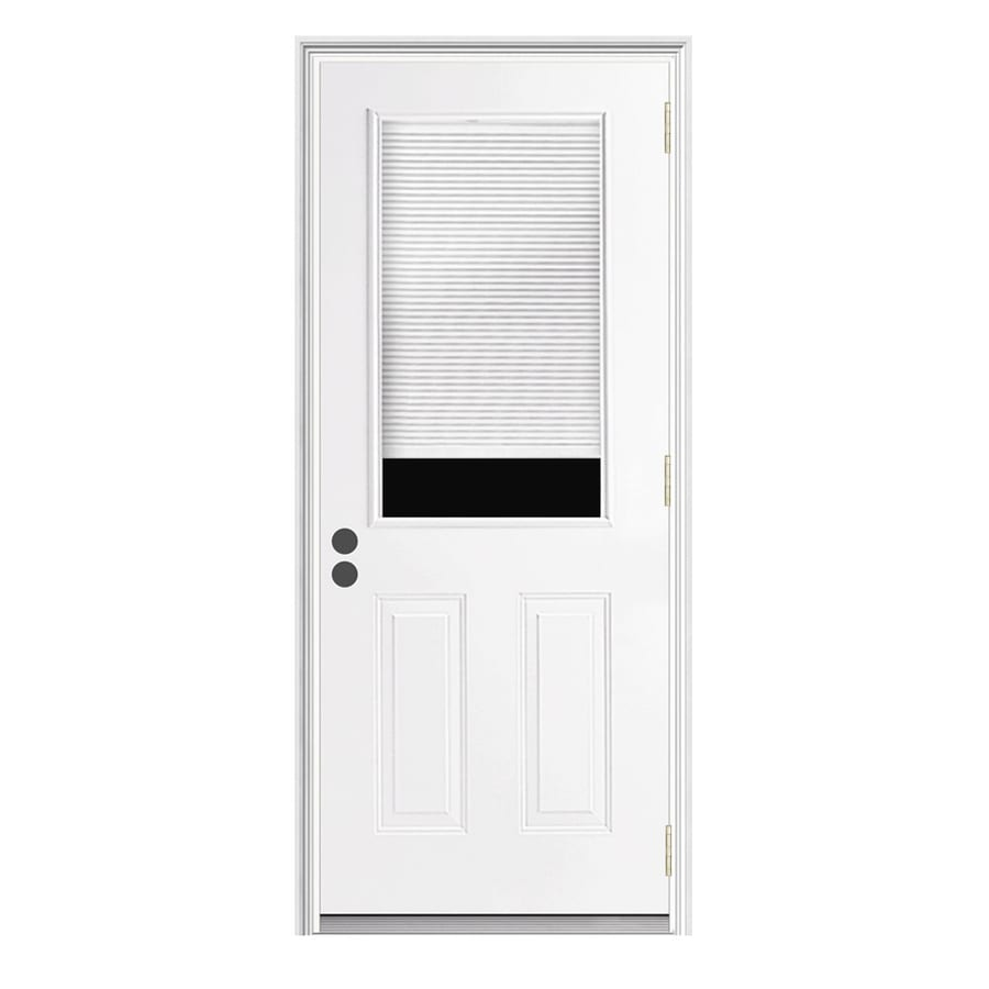 JELD-WEN 2-Panel Insulating Core Half Lite Left-Hand Inswing Steel Primed Prehung Entry Door (Common: 32-in x 80-in; Actual: 33.5-in x 81.75-in)
