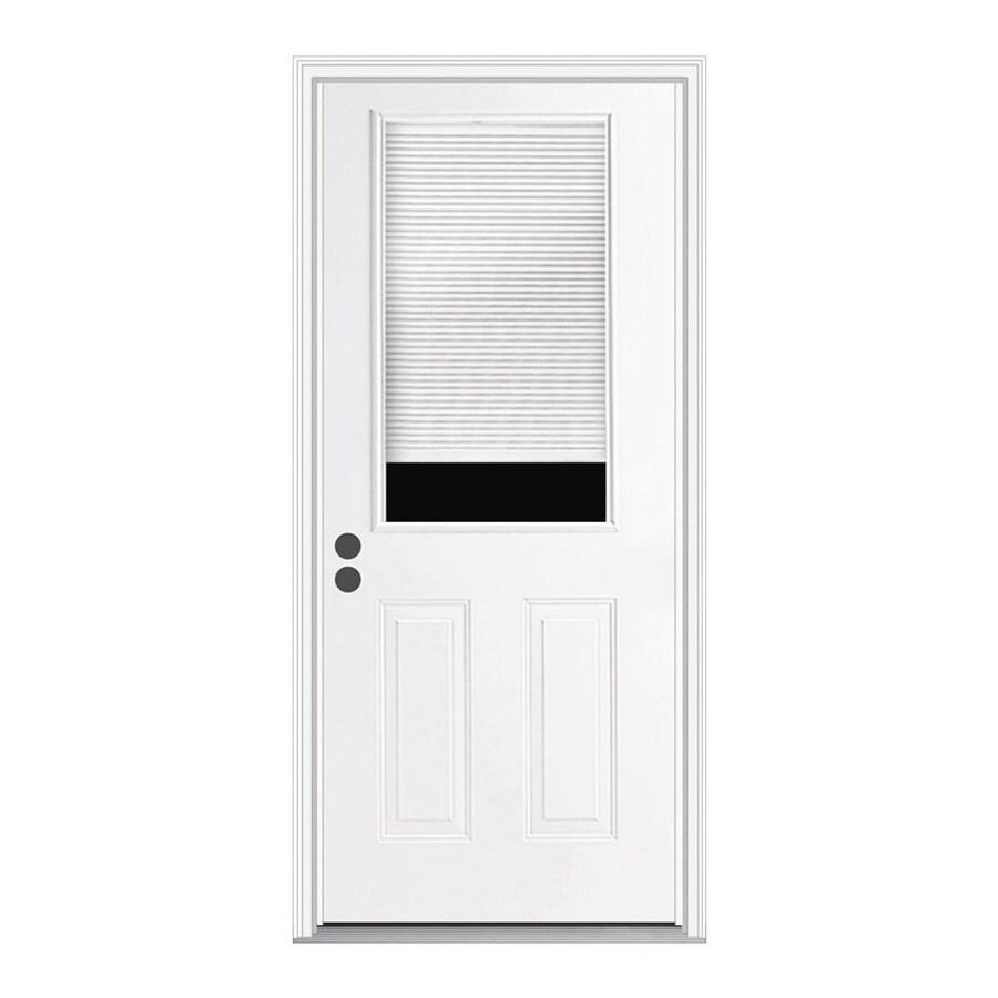 JELD-WEN 2-Panel Insulating Core Half Lite Right-Hand Inswing Steel Primed Prehung Entry Door (Common: 36-in x 80-in; Actual: 37.5-in x 81.75-in)