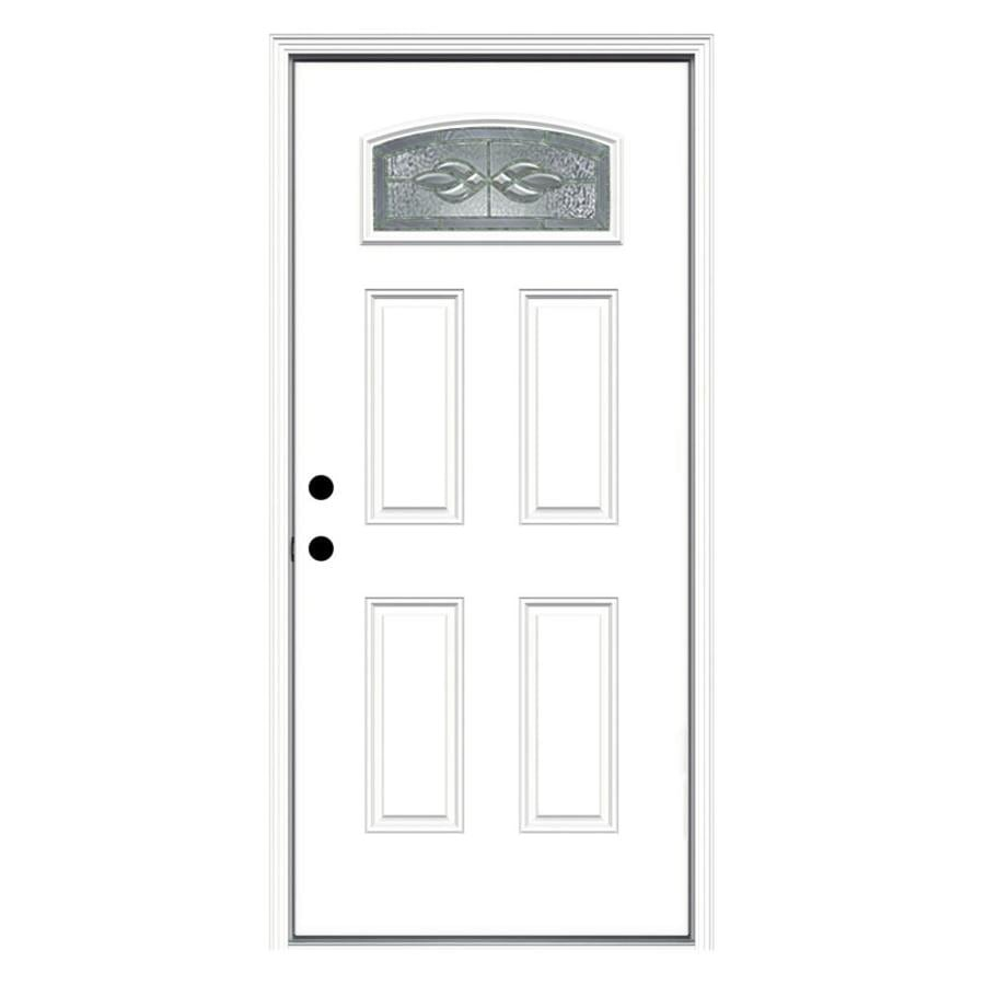 ReliaBilt Hampton 4-Panel Insulating Core Morelight Right-Hand Inswing Primed Fiberglass Prehung Entry Door (Common: 36-in x 80-in; Actual: 37.5-in x 81.75-in)