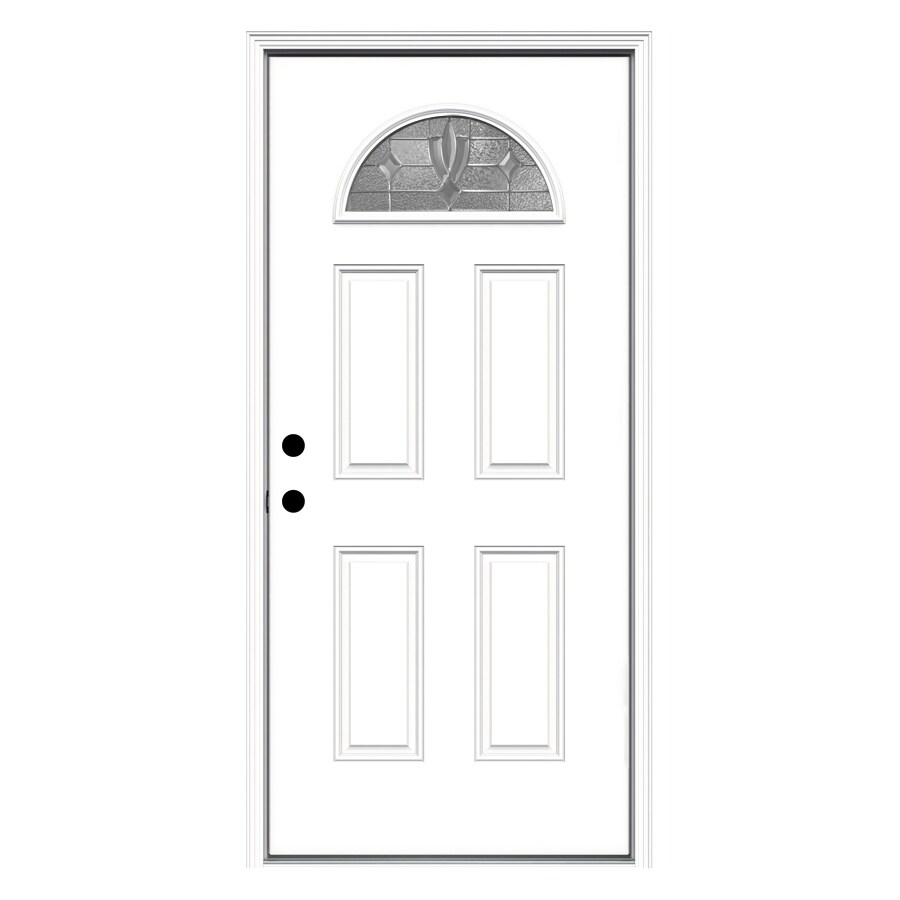 ReliaBilt Laurel 4-Panel Insulating Core Fan Lite Right-Hand Inswing Primed Fiberglass Prehung Entry Door (Common: 36-in x 80-in; Actual: 37.5-in x 81.75-in)
