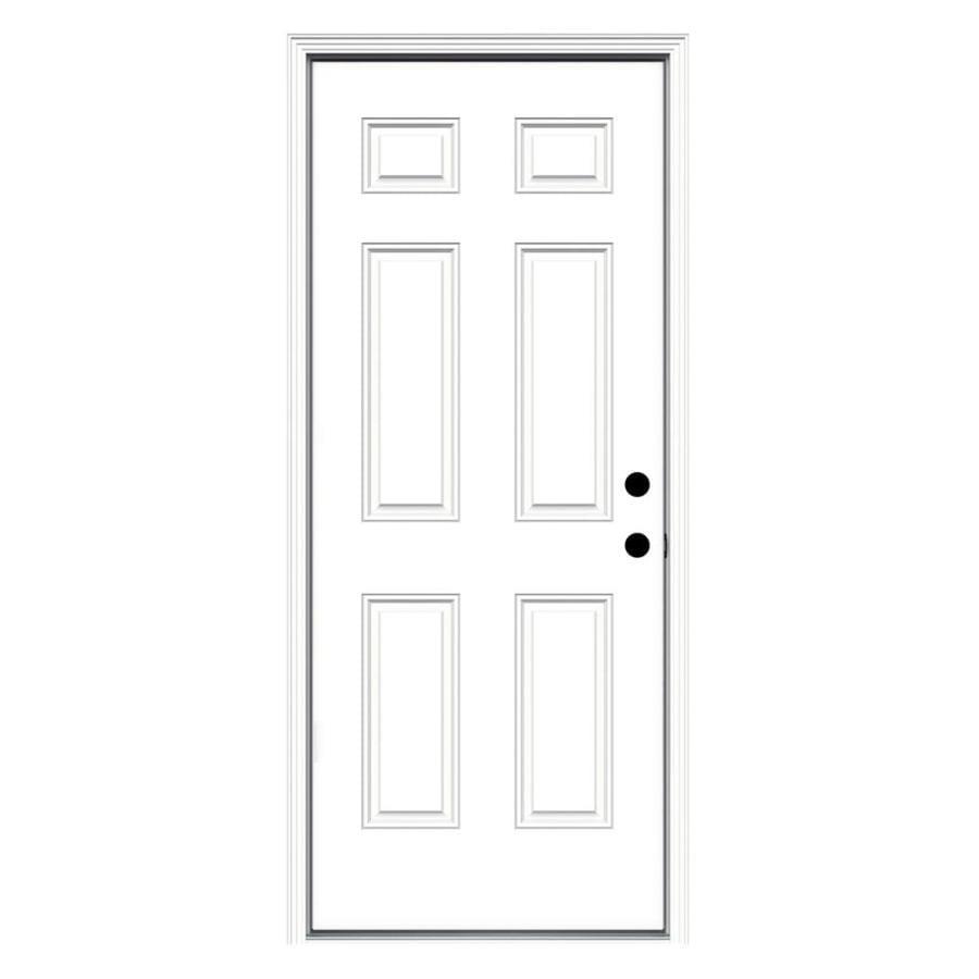 ReliaBilt 6-Panel Insulating Core Left-Hand Inswing Primed Fiberglass Prehung Entry Door (Common: 36-in x 80-in; Actual: 37.5-in x 81.75-in)