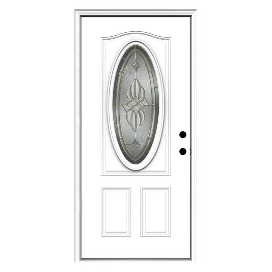 ReliaBilt 2-Panel Insulating Core Oval Lite Left-Hand Inswing Primed Fiberglass Prehung Entry Door (Common: 36-in x 80-in; Actual: 37.5-in x 81.75-in)