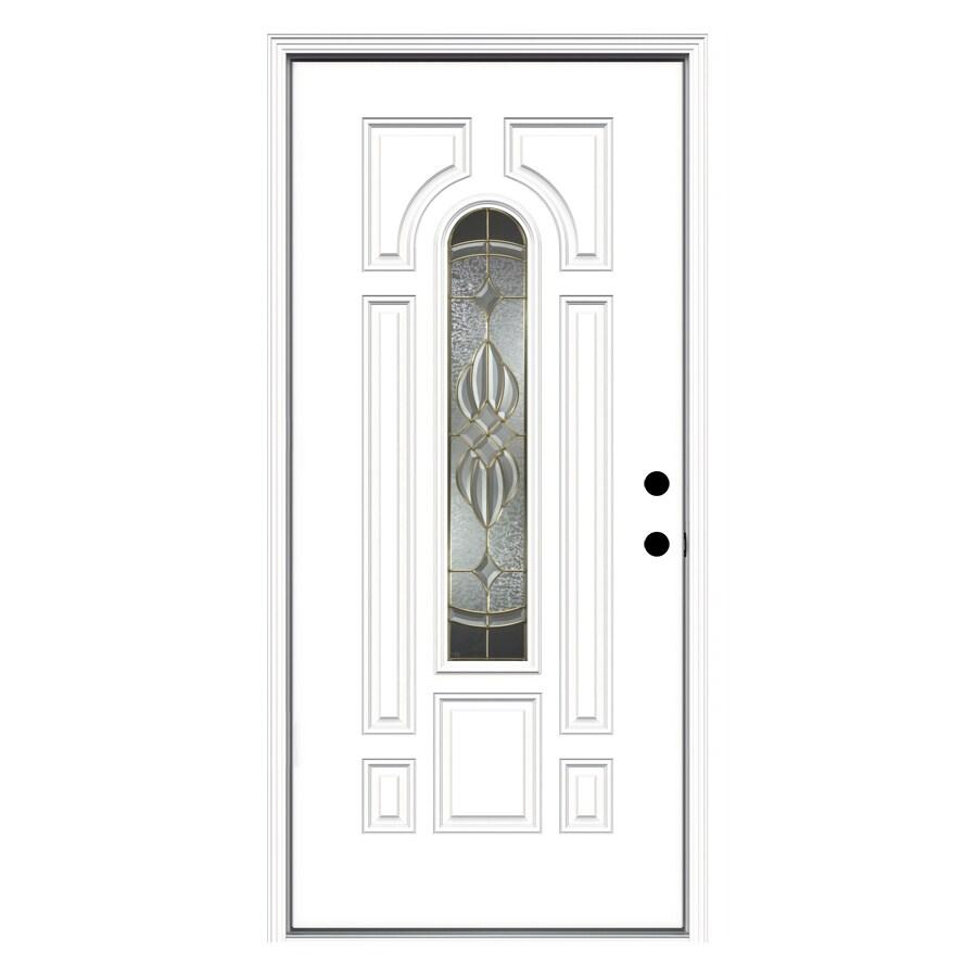 ReliaBilt 8-Panel Insulating Core Center Arch Lite Left-Hand Inswing Primed Fiberglass Prehung Entry Door (Common: 36-in x 80-in; Actual: 37.5-in x 81.75-in)