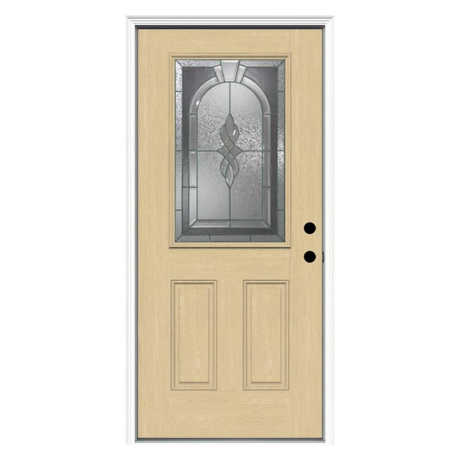 ReliaBilt Hampton 2-Panel Insulating Core Half Lite Left-Hand Inswing Fiberglass Unfinished Prehung Entry Door (Common: 36-in x 80-in; Actual: 37.5-in x 81.75-in)