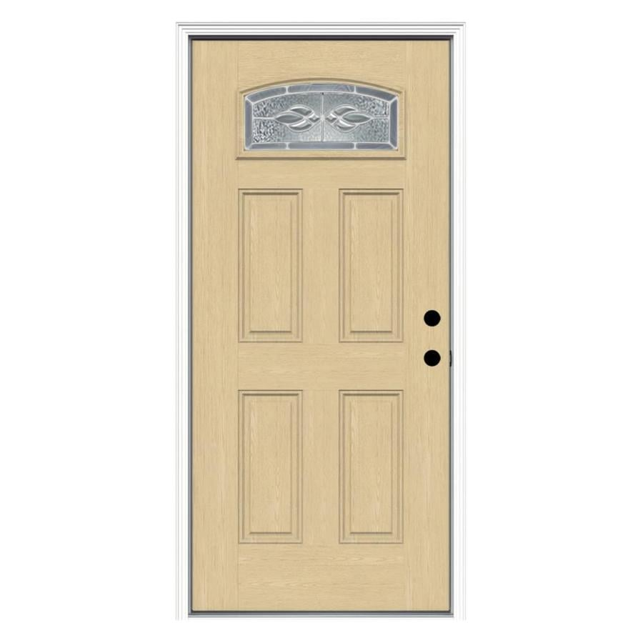 ReliaBilt Hampton 4-Panel Insulating Core Morelight Left-Hand Inswing Fiberglass Unfinished Prehung Entry Door (Common: 36-in x 80-in; Actual: 37.5-in x 81.75-in)