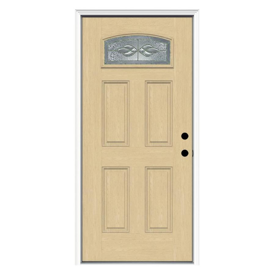 ReliaBilt Hampton 4-Panel Insulating Core Morelight Left-Hand Inswing Fiberglass Unfinished Prehung Entry Door (Common: 36-in x 80-in; Actual: 37.5-in x 81.75-in)