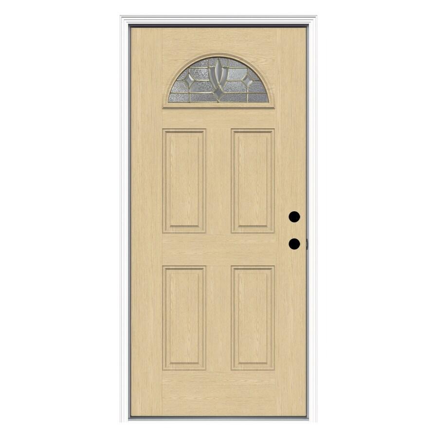ReliaBilt Laurel 4-Panel Insulating Core Fan Lite Left-Hand Inswing Fiberglass Unfinished Prehung Entry Door (Common: 36-in x 80-in; Actual: 37.5-in x 81.75-in)