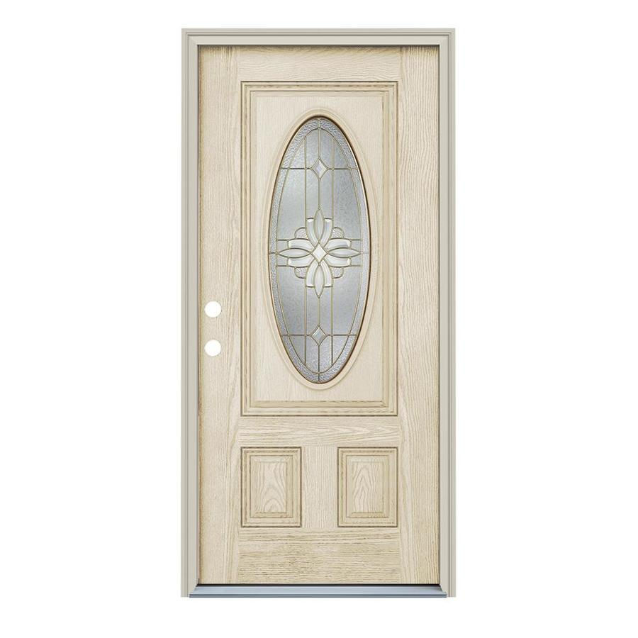 ReliaBilt Laurel 2-Panel Insulating Core Oval Lite Right-Hand Inswing Fiberglass Unfinished Prehung Entry Door (Common: 36-in x 80-in; Actual: 37.5-in x 81.75-in)