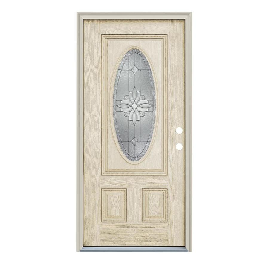 ReliaBilt Laurel 2-Panel Insulating Core Oval Lite Left-Hand Inswing Fiberglass Unfinished Prehung Entry Door (Common: 36-in x 80-in; Actual: 37.5-in x 81.75-in)