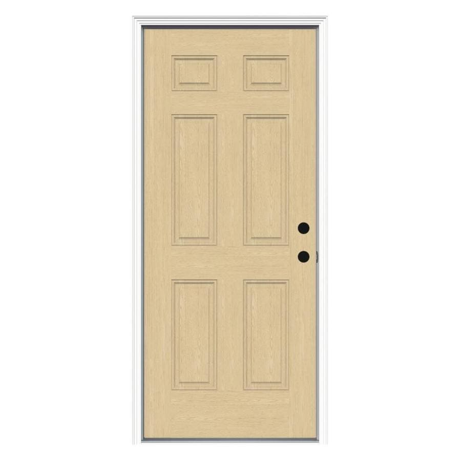 ReliaBilt 6-Panel Insulating Core Left-Hand Inswing Fiberglass Unfinished Prehung Entry Door (Common: 32-in x 80-in; Actual: 33.5-in x 81.75-in)