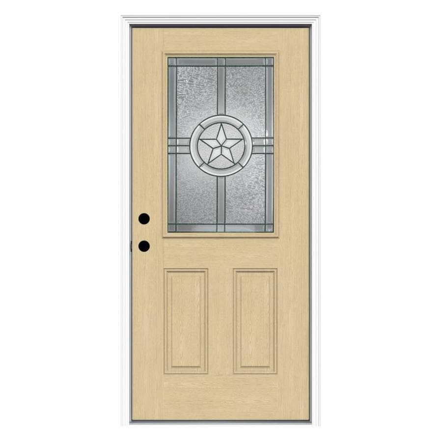 ReliaBilt Radiant Star 2-Panel Insulating Core Half Lite Right-Hand Inswing Fiberglass Unfinished Prehung Entry Door (Common: 36-in x 80-in; Actual: 37.5-in x 81.75-in)