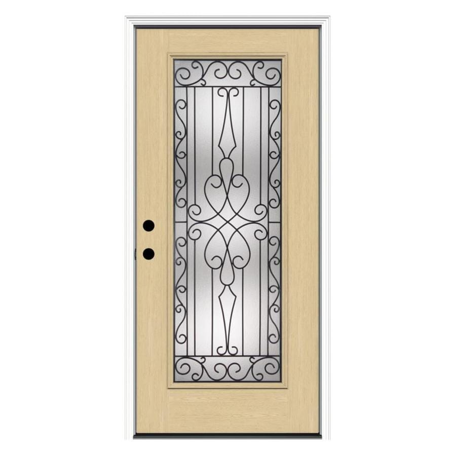 ReliaBilt Wyngate 1-Panel Insulating Core Full Lite Right-Hand Inswing Fiberglass Unfinished Prehung Entry Door (Common: 36-in x 80-in; Actual: 37.5-in x 81.75-in)