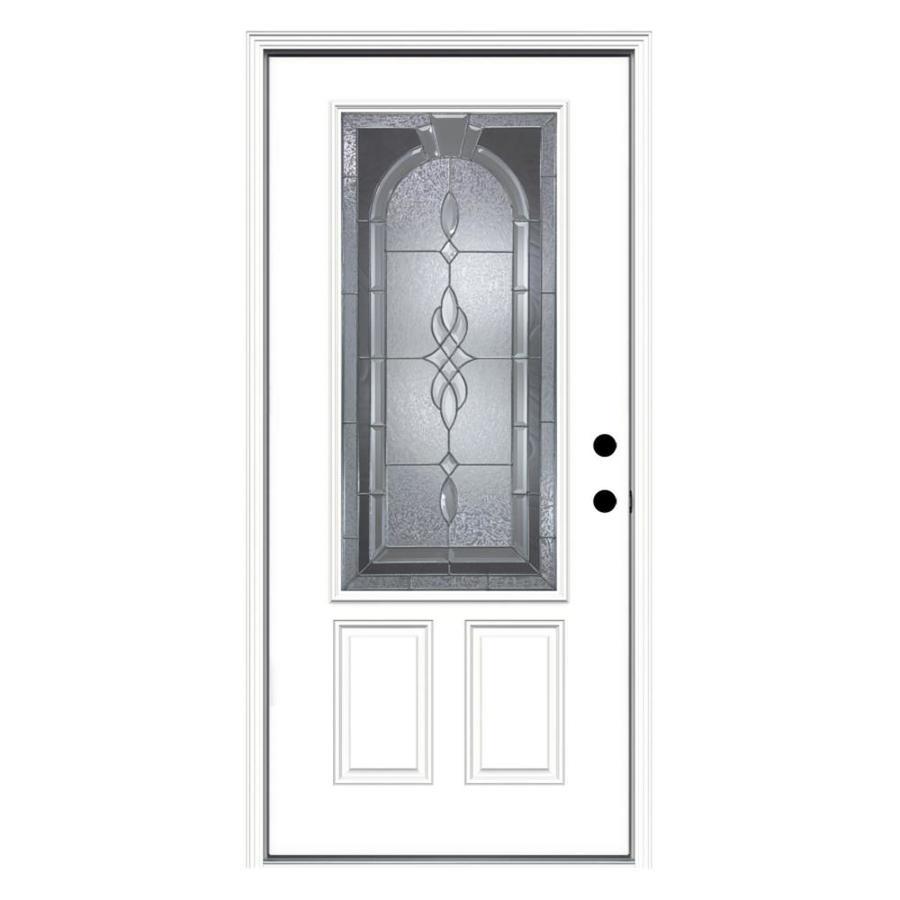 JELD-WEN Hampton 2-Panel Insulating Core 3/4 Lite Left-Hand Inswing Steel Primed Prehung Entry Door (Common: 36-in x 80-in; Actual: 37.5-in x 81.75-in)