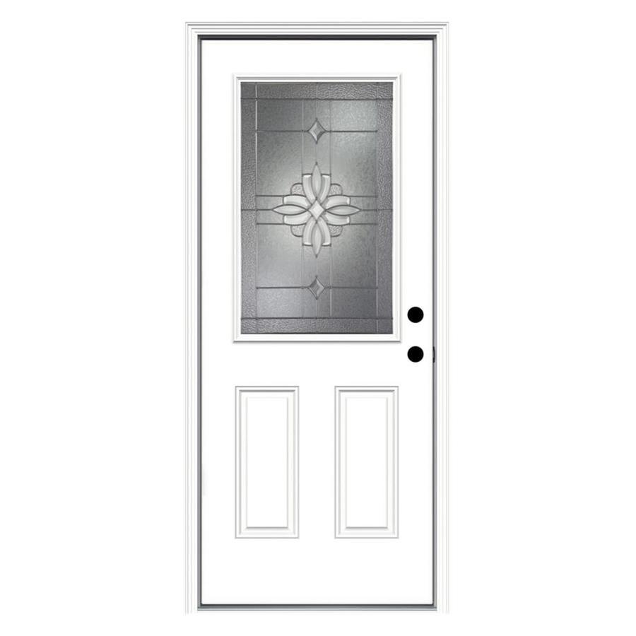 JELD-WEN Laurel 2-Panel Insulating Core Half Lite Left-Hand Inswing Steel Primed Prehung Entry Door (Common: 32-in x 80-in; Actual: 33.5-in x 81.75-in)