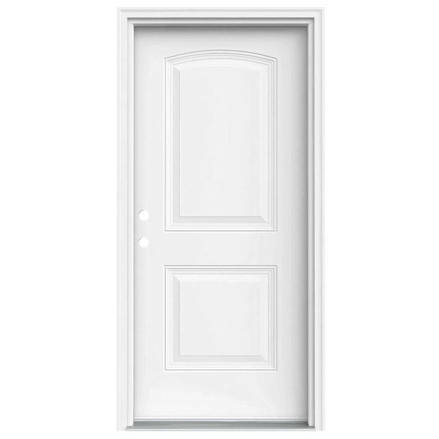JELD-WEN 2-Panel Insulating Core Right-Hand Inswing Steel Primed Prehung Entry Door (Common: 36-in x 80-in; Actual: 37.5-in x 81.75-in)