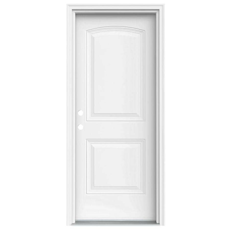 JELD-WEN 2-Panel Insulating Core Right-Hand Inswing Steel Primed Prehung Entry Door (Common: 32-in x 80-in; Actual: 33.5-in x 81.75-in)