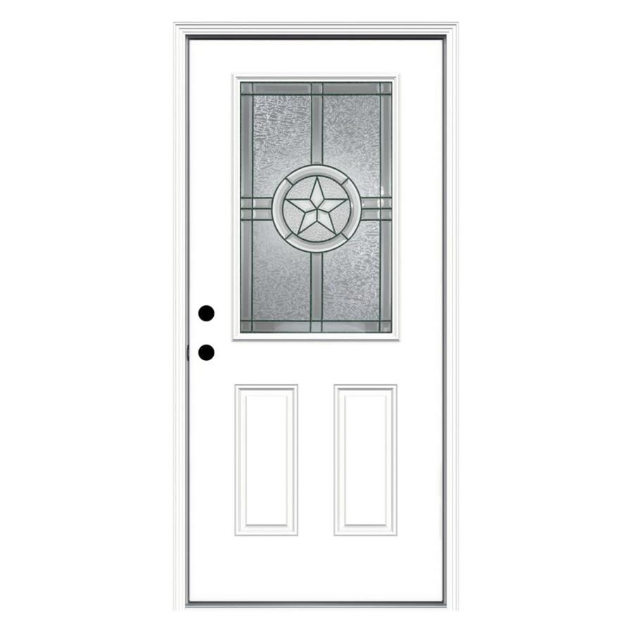 JELD-WEN Radiant Star 2-Panel Insulating Core Half Lite Right-Hand Inswing Steel Primed Prehung Entry Door (Common: 36-in x 80-in; Actual: 37.5-in x 81.75-in)