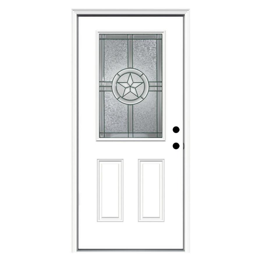 JELD-WEN Radiant Star 2-Panel Insulating Core Half Lite Left-Hand Inswing Steel Primed Prehung Entry Door (Common: 36-in x 80-in; Actual: 37.5-in x 81.75-in)