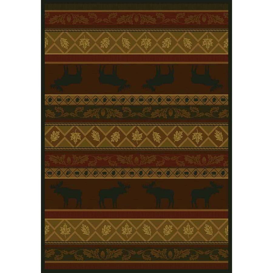 United Weavers Of America Marshfield Brown Rectangular Indoor Woven Lodge Area Rug (Common: 5 x 8; Actual: 63-in W x 86-in L)
