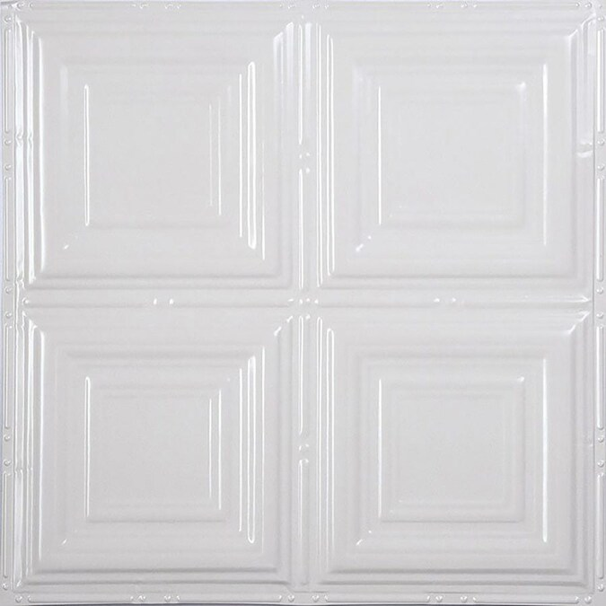 American Tin Ceilings 24-in x 24-in 5-Pack Bright White