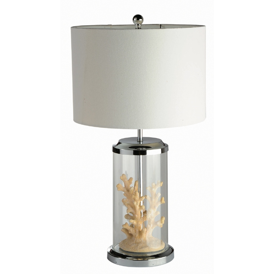 Elegant Designs 24-in Chrome Indoor Table Lamp with Fabric Shade