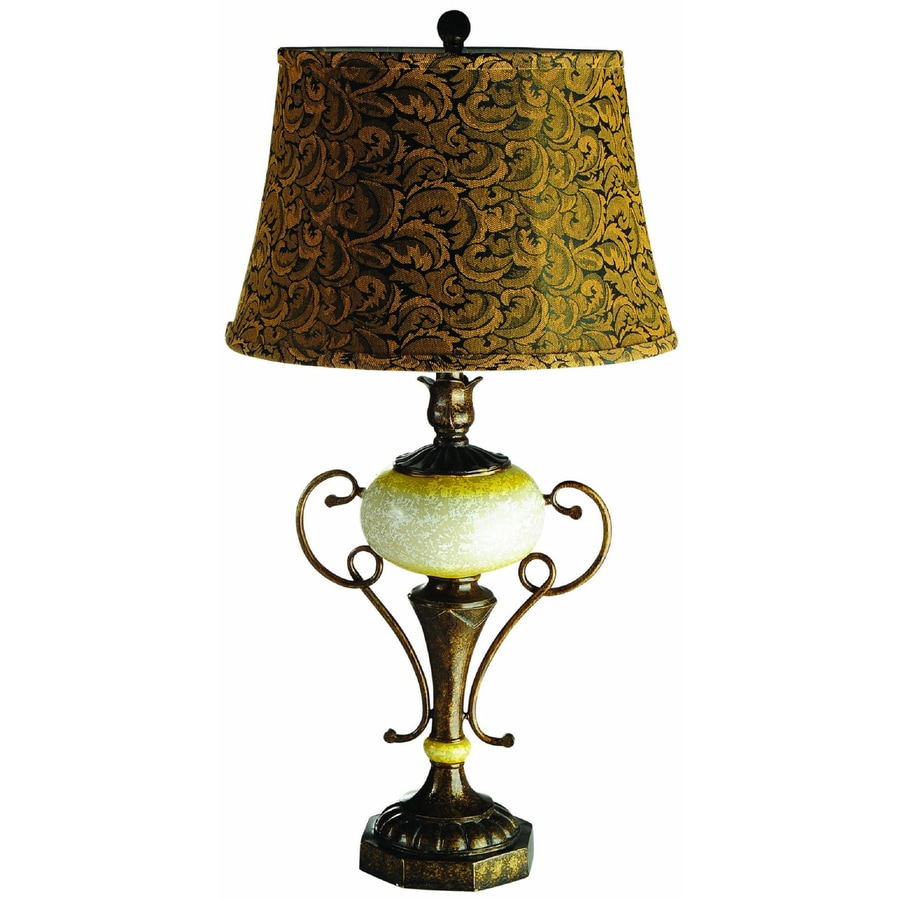 Elegant Designs 31.1-in Antique Brass Base Indoor Table Lamp with Fabric Shade