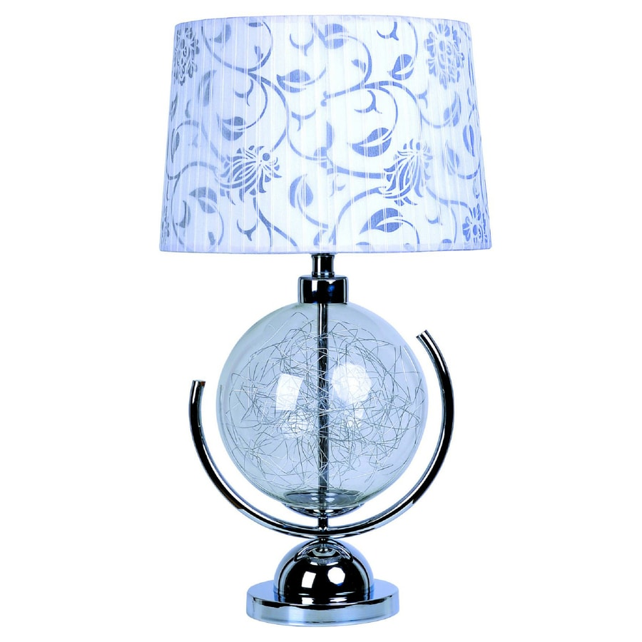 Elegant Designs 27.75-in Chrome Indoor Table Lamp with Fabric Shade