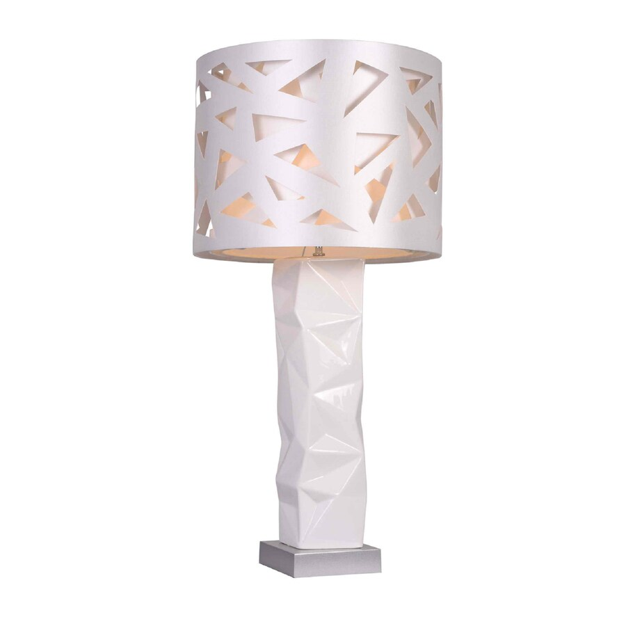 Elegant Designs 35.04-in White Indoor Table Lamp with Fabric Shade
