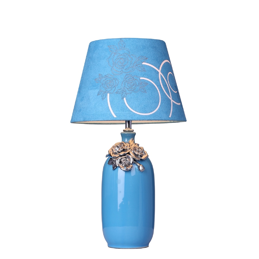 Elegant Designs 17.72-in Blue Indoor Table Lamp with Fabric Shade
