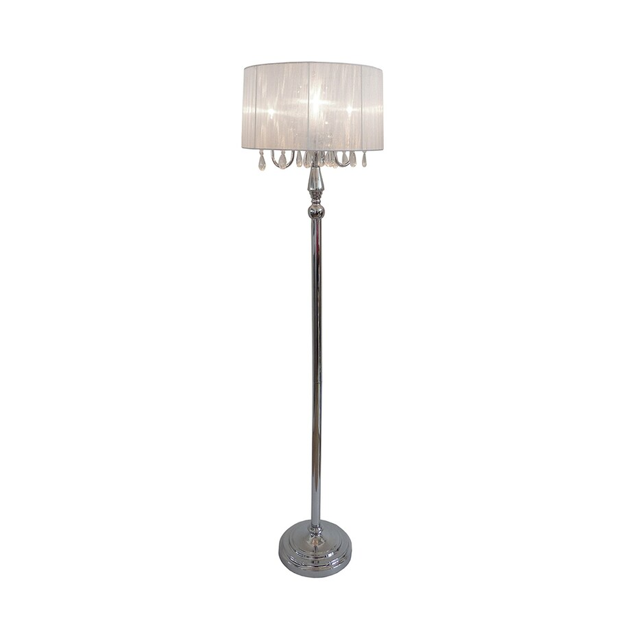 Elegant Designs 61-in Chrome Indoor Floor Lamp with Fabric Shade