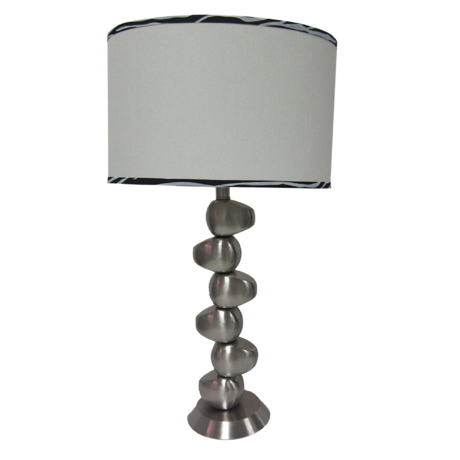Simple Designs 27.5-in Antique Nickel Base Indoor Table Lamp with Fabric Shade