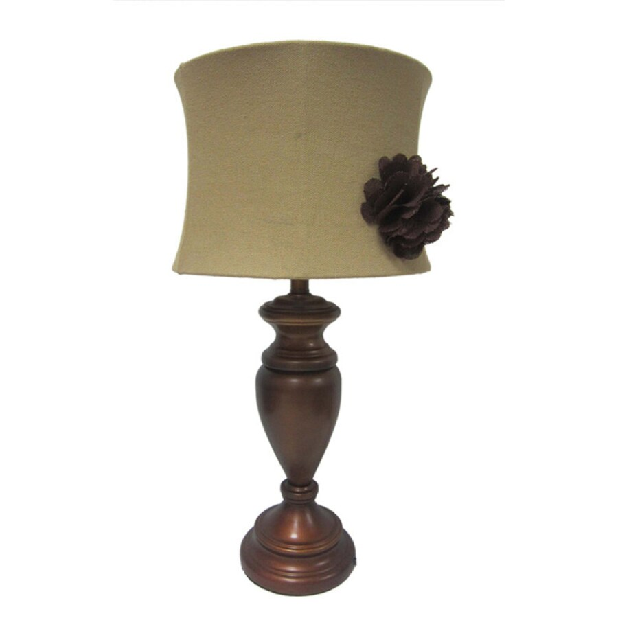 Simple Designs 28.5-in Bronze Indoor Table Lamp with Fabric Shade