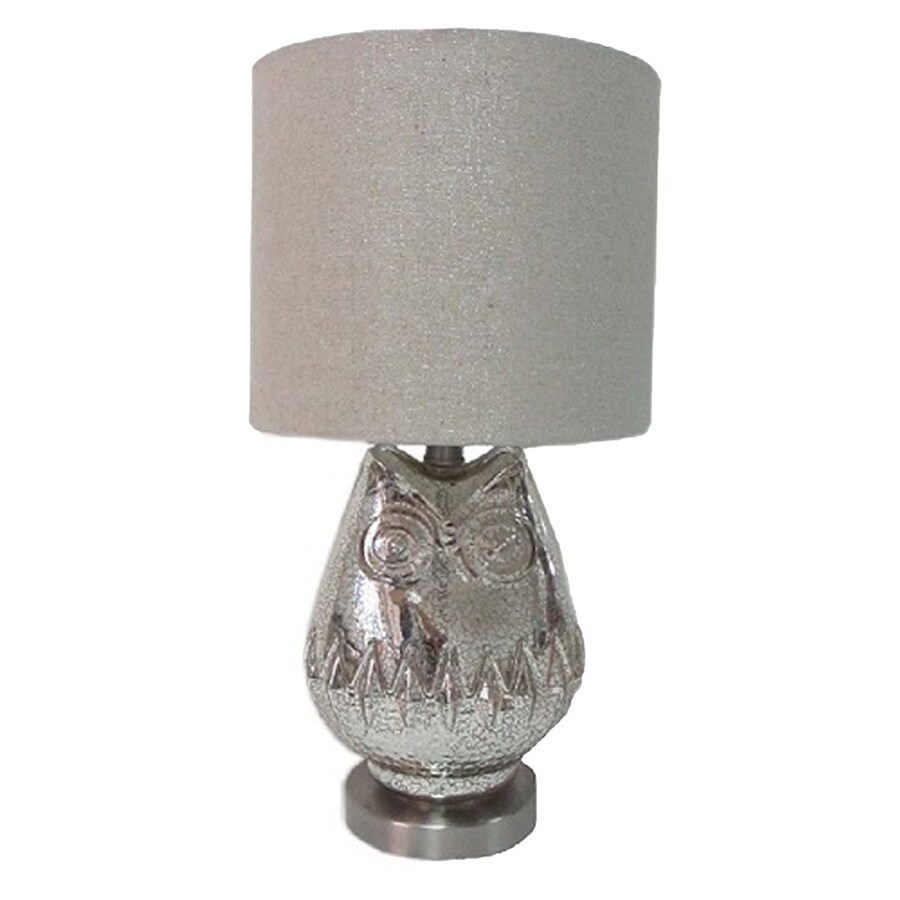 Simple Designs 22.5-in Brushed Steel Base Indoor Table Lamp with Fabric Shade