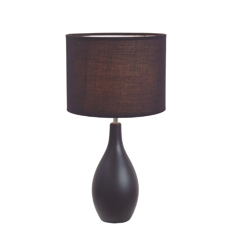 Simple Designs 19-in Black Indoor Table Lamp with Fabric Shade