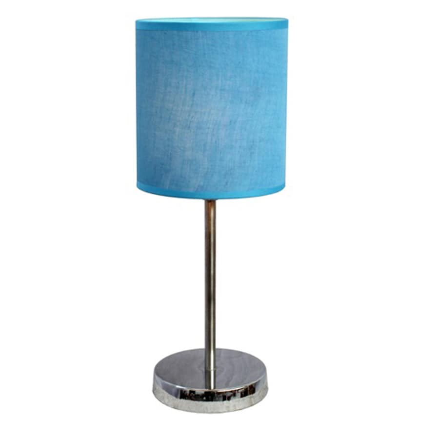Simple Designs 11.89-in Chrome Indoor Table Lamp with Fabric Shade